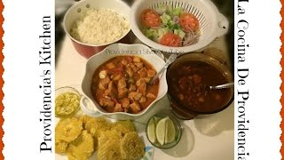 White Rice, Pink Beans, Pork Stew, Plantains With Garlic And Salad...