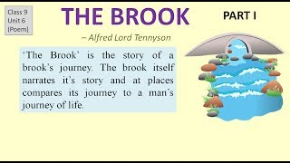 """CBSE class 9 English """"The Brook""""- explanation, Question answers"""