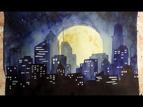 видео: Как научиться рисовать: УРОК 8. Ночной город акварелью