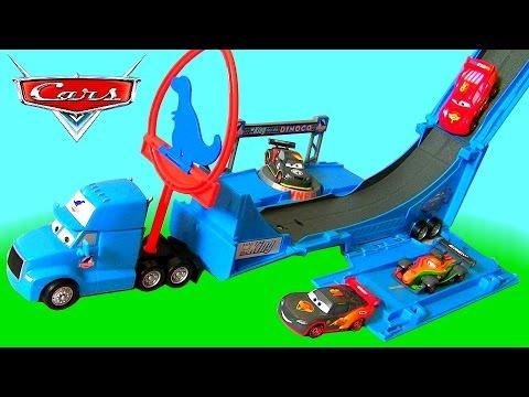 Disney Cars Dinoco Gray Hauler Drop Amp Jump Playset YouTube
