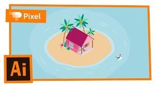 Векторная графика | Домик на острове в Adobe Illustrator