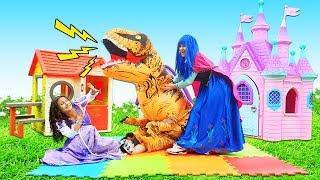 Prenses çocuk oyunları. Şımarık prensesler dinozor ile oynuyor