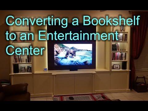 Conversion of a bookshelf into a modern entertainment center