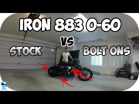 Harley Davidson Iron 883 0-60 - Stock VS. Bolt Ons!