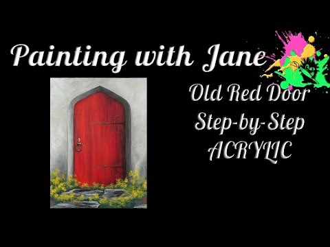 Old Red Door Step by Step Acrylic Painting on Canvas for Beginners