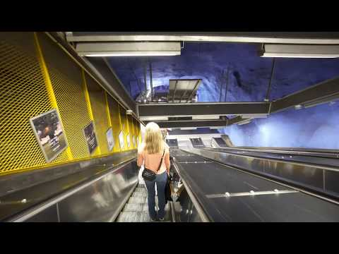 Sweden, Stockholm, bus and metro ride from Viking Line to Central, 2X elevator , 3X escalator