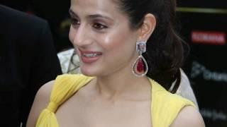 Amisha Patel Transparent Yellow Dress on Award Screen