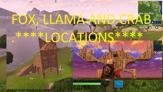**LOCATIONS** FOX, CRAB AND LLAMA FOUND!! - WEEK 1 BATTLE PASS CHALLENGE - Fortnite Battle Royale