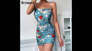 Женское мини платье на бретельках beyouare летнее облегающее с цветочным принтом рюшами и открытой
