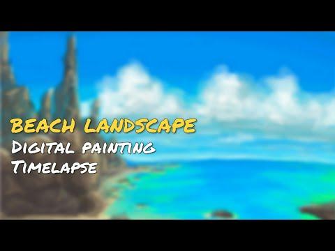 Beach landscape painting  (Timelapse )