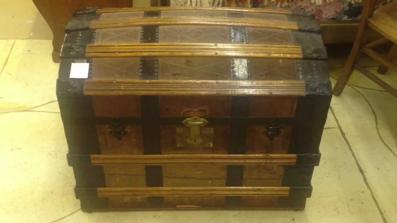 Early Leather Wood Metal Dome Top Trunk Camel Back Dated