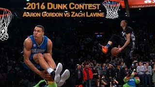 Zach LaVine and Aaron Gordons AWESOME 2016 Slam Dunk Duel(Take a look back at one of the best dunk contests in the history of All-Star Weekend between Zach LaVine and Aaron Gordon! About the NBA: The NBA is the ..., 2016-02-14T06:37:46.000Z)
