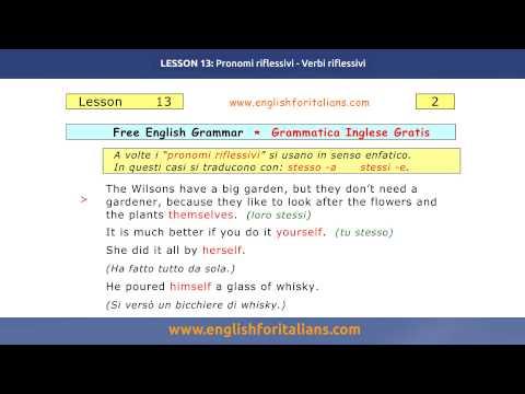 Corso di grammatica inglese, Imparare l'inglese -  Pronomi Riflessivi, Verbi Riflessivi - Lesson 13