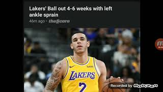 #Lakers Lonzo Ball injury out 4 to 6 weeks