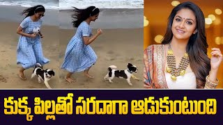 Actress Keerthy Suresh Playing with her Pet Dog at Beach   Keerthy Suresh