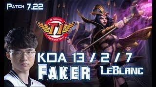 SKT T1 Faker LEBLANC vs VEIGAR Mid - Patch 7.22 KR Ranked