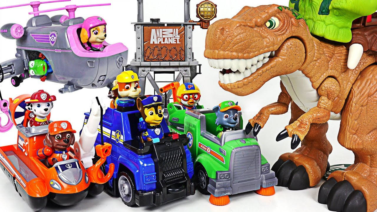 Dinosaurs attack Pororo on a train! Paw Patrol Ultimate Rescue! Keep the treasure!- DuDuPopTOY