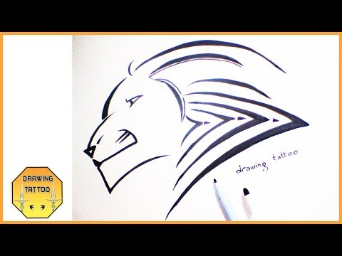 LION TATTOO DESIGN drawing on paper