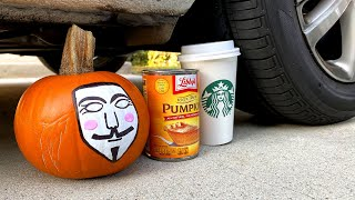 Crushing Crunchy & Soft HALLOWEEN and PUMPKIN Things By Car - Experiments to Reveal Secret Clues!