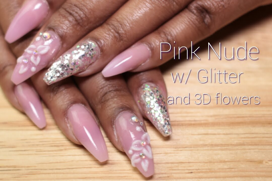 Acrylic Nails Pink W Glitter And Flowers Longhairprettynails