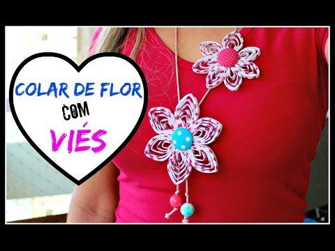 COLAR DE FLOR COM VIÉS