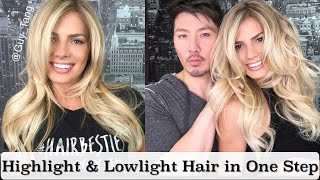 Highlight and Lowlight Blonde Hair in One Step without Bleach