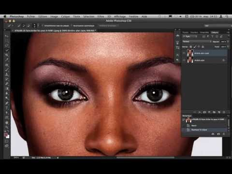 SKON TV -Tutoriel Photoshop CS6 - CS5 - Comment éclaircir les yeux d'un modèle photo