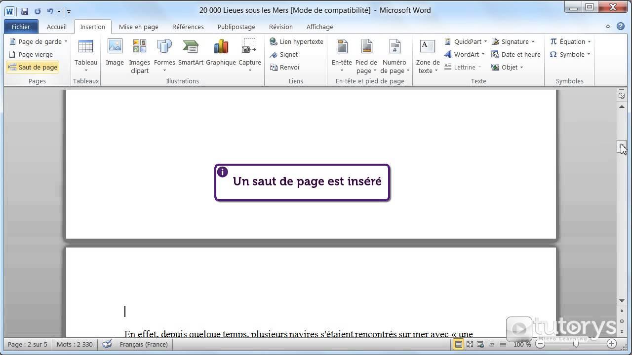 comment ins u00e9rer un saut de page avec word 2010