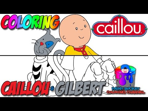how to color caillou and gilbert the cat learn colors kids tv show coloring page - Caillou Gilbert Coloring Pages