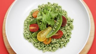 Barley And Basil Pesto Salad With Sugar Snap Peas And Heirloom Cherry Tomatoes   Youtube