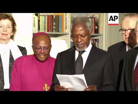 Elders group, including Kofi Annan, Archbishop Tutu, Jimmy Carter and Lakhdar Brahimi, gives stateme