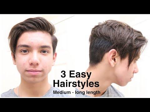3 EASY and TRENDY Hairstyles For Men | Medium - Long Length Hair Tutorial