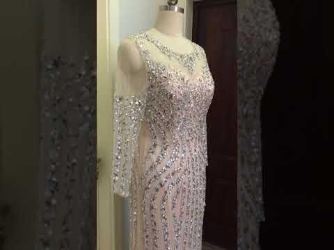 evening-dresses-luxury-gray/champagne-mermaid-crystal-sweep-train-long-sleeves