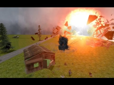 Gmod : Nuclear Test - Village Explosion ( Houses explosion 2 )