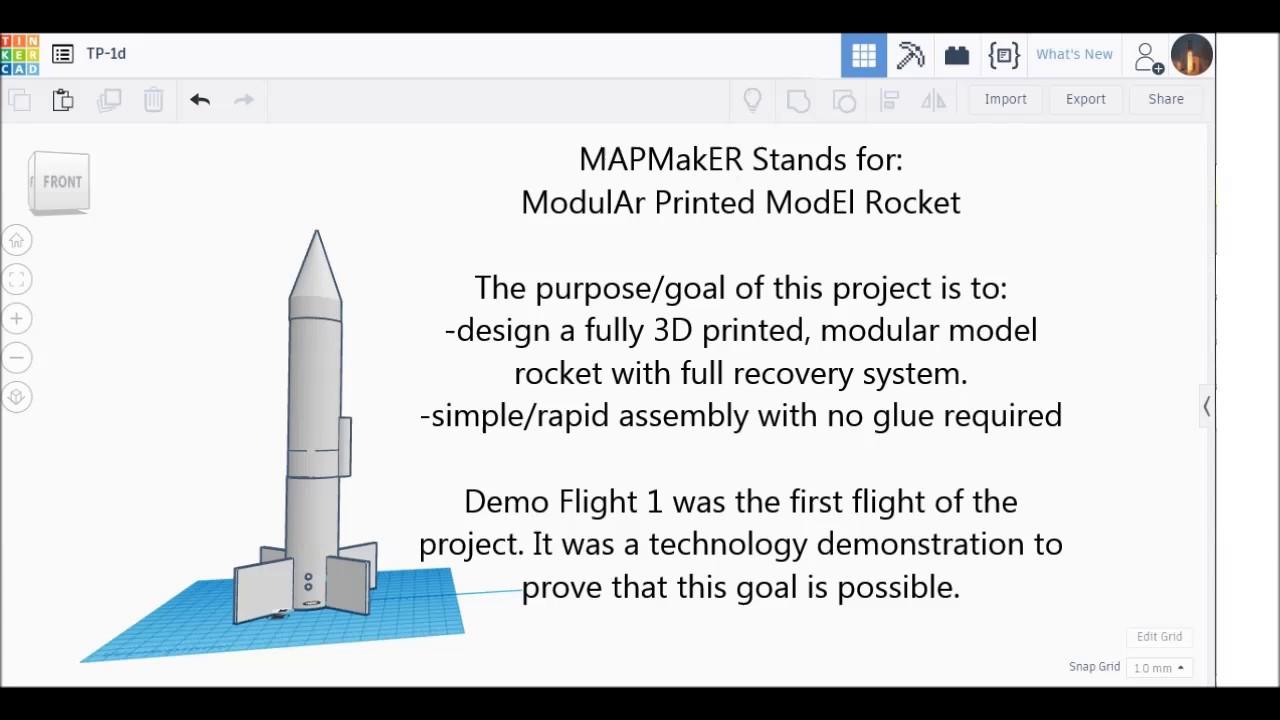 hight resolution of modular 3d printed model rocket demo flight 1