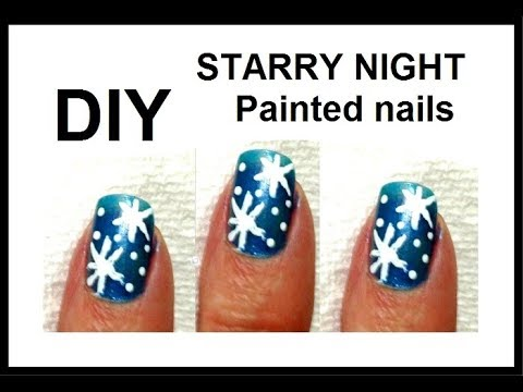 DIY   HOW TO PAINT STARRY NIGHTS NAILS
