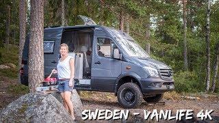 Schweden Reise mit dęm 4x4 Mercedes Sprinter Kastenwagen 4k