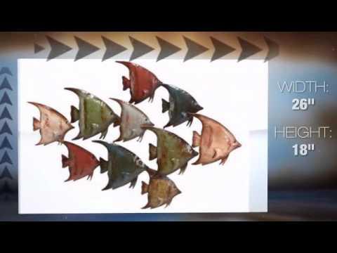 Swimmingly Happy School Of Fish Metal Wall Sculpture