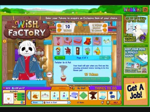 Webkinz wish token prizes images