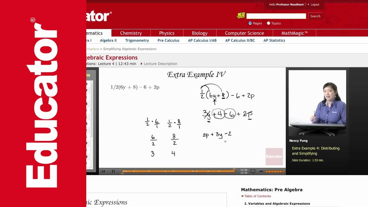worksheet Pre Algebra Expressions pre algebra simplifying algebraic expressions youtube expressions