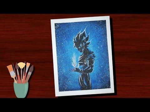 Dragon Ball Z black blue GOKU water painting   GOKU water painting easy   Float on art