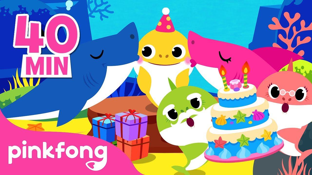 Feliz Aniversário do Bebê Tubarão 🎁🎂🎉 | +Compilação | Pinkfong Canções para crianças