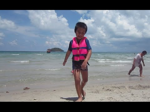 Kids enjoyed their time playing on the beach in Cambodia