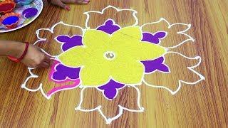 Simple Rangoli Blueprint With Beautiful Color Kolem Muggulu With 7X4 Dots - Spank