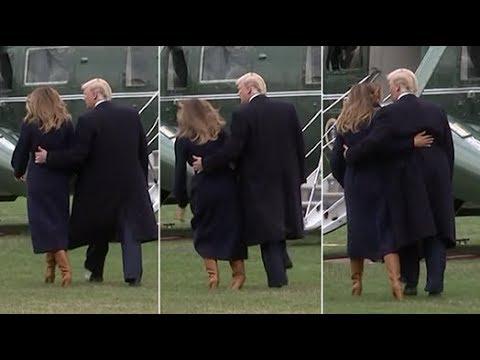 Melania Trump stumbles in high heeled boots