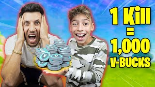 Every Kill = 1,000 V Bucks in Fortnite! (Dad Freaks Out) | Royalty Gaming
