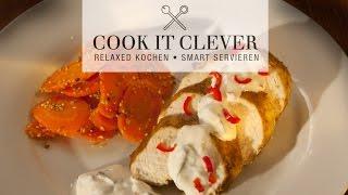 Rezept: Tandoori-Huhn mit Sesam-Ingwer-Karotten