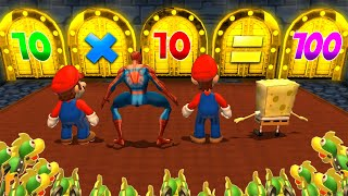 Mario Party 9 MiniGames - Luigi Vs Spider Man Vs SpongeBob Vs Mario (Master Difficulty)