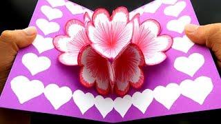 DIY Tarjeta 3D de Flores POP UP / Tarjeta de artesania decorativa para regalar