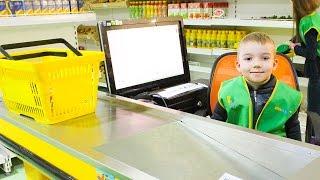 Продавец Супермаркет. Профессии для детей. Город профессий KIDSWILL.